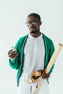 african american baseball player in retro eyeglasses, isolated on white