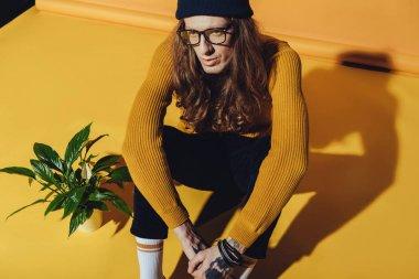 handsome elegant man sitting near houseplant, on yellow