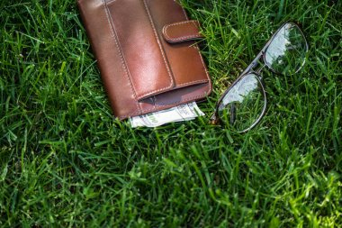 close up view of male wallet with money and eyeglasses on green grass