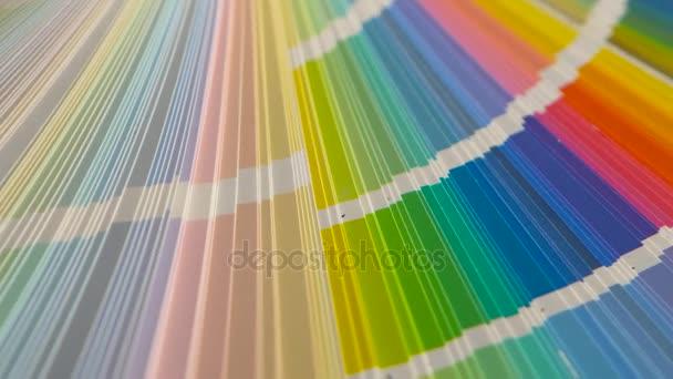 Velkou paletu s barevnými příklady maluje. Detailní záběr