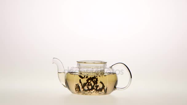 Leaves of green tea are brewed in teapot, white background