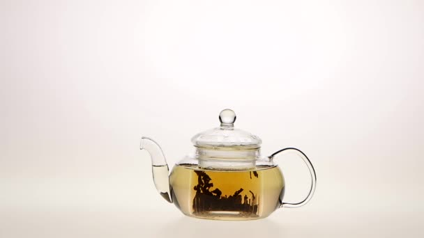 Brewing leaf tea in a transparent glass teapot. White background