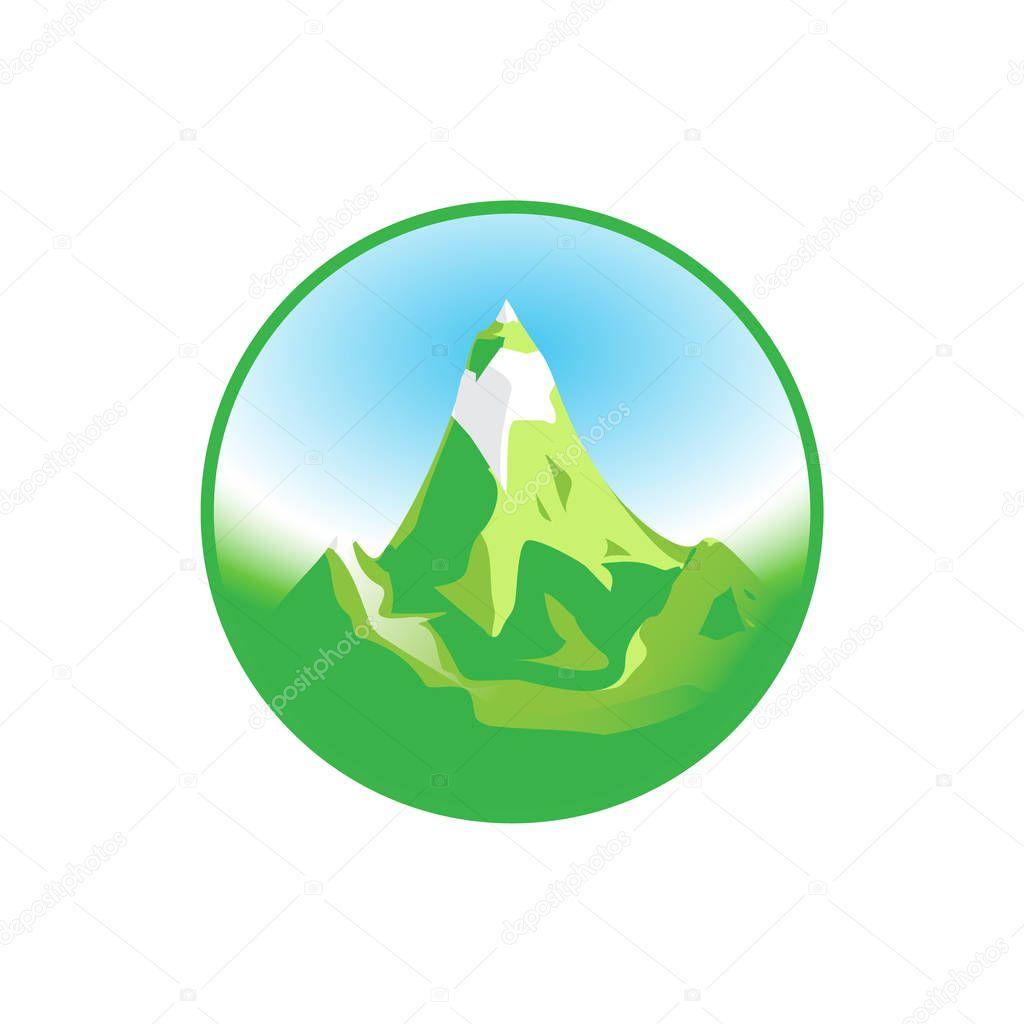 Emblem of Green Snowy Mountain