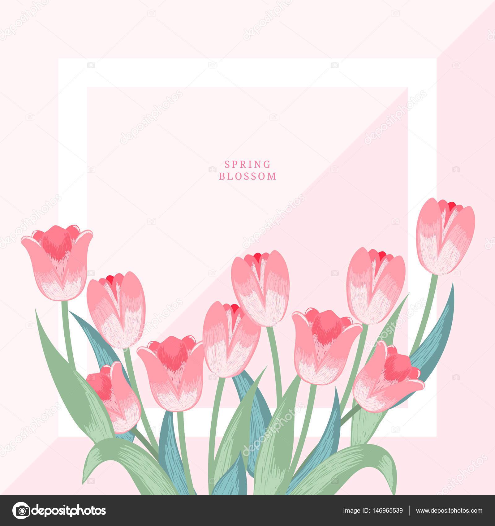 春の花花のイラストフレーム ストックベクター Mipipihigmail