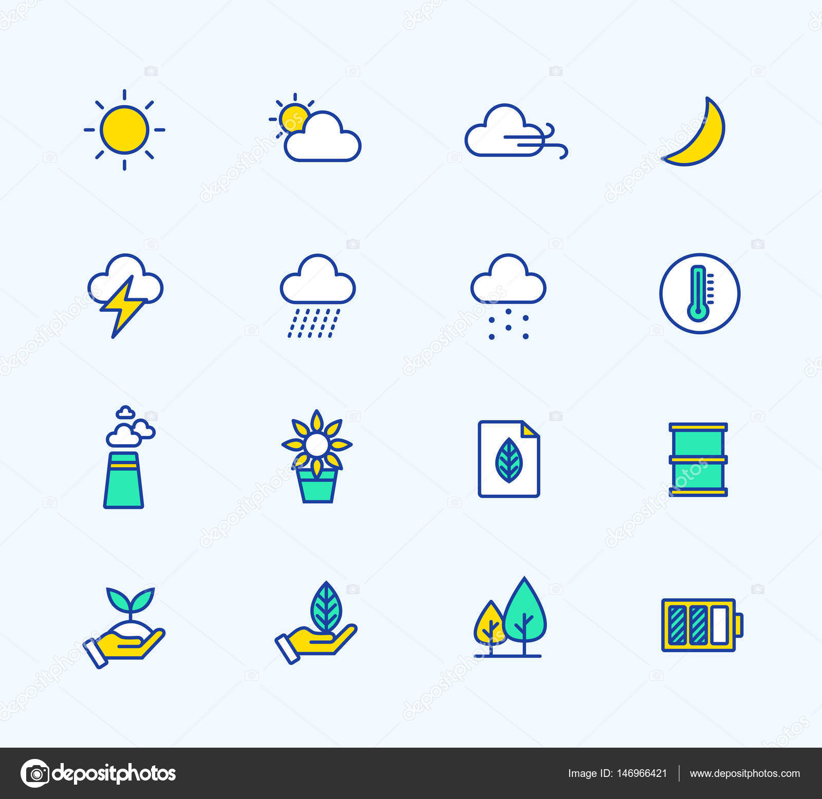 Energy And Weather Icons Neon Color Symbols For Mobile And Web