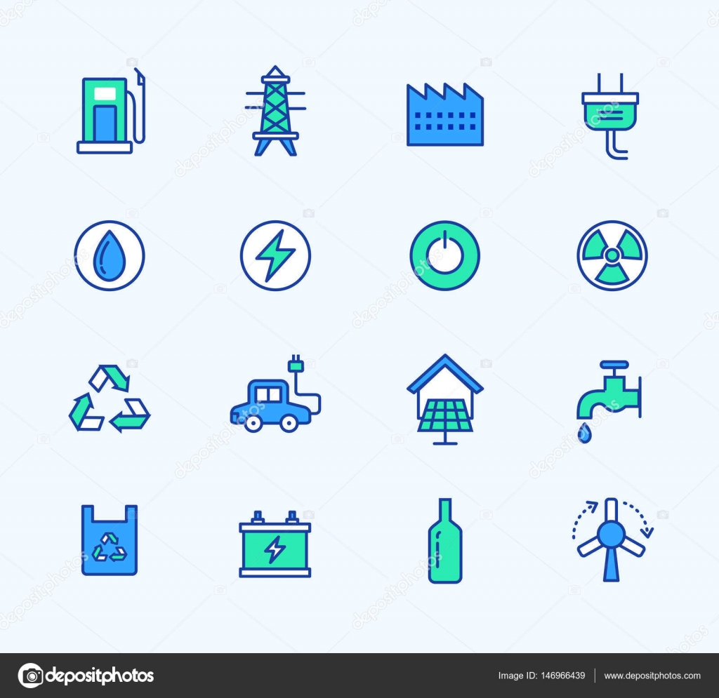 Energy Line Icons Neon Color Web Symbols For Mobile And Web