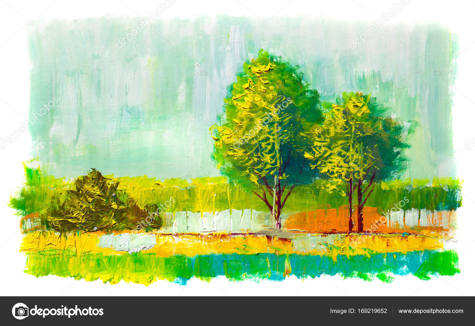 Oil painting colorful trees. — Stock Photo © sbelov #169219652