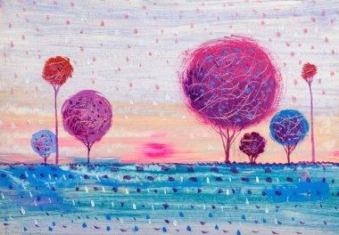 """Картина, постер, плакат, фотообои """"пейзаж масляной живописи, красочные деревья. ручной импрессионист, пейзаж на открытом воздухе . картина"""", артикул 370175550"""