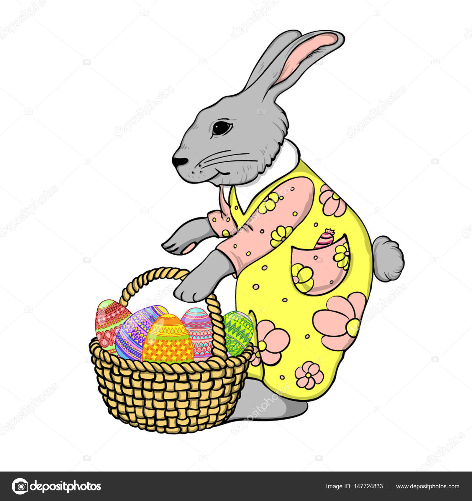 set of cute easter rabbits with easter eggs and banners u2014 stock