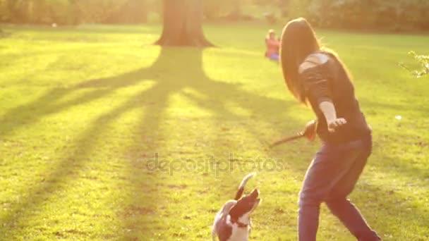 Mladá dívka si hraje se psem v parku