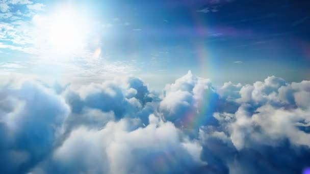 Flying over the timelapse clouds with beautiful lens flare, seamlessly looped