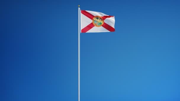 Florida (americký stát) vlajka v pomalém pohybu plynule smyčkou s alfa kanálem