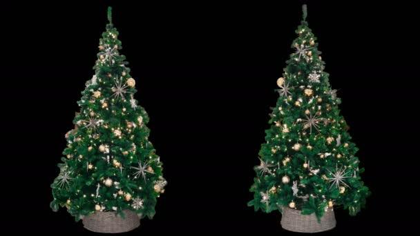 2 Nieuwe Jaar Kerst Versierd Bomen Met Gloeiende Kleurrijke Lichten