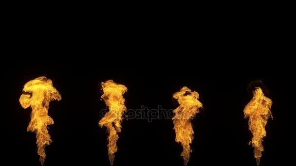 Sada 4 izolované ohněm, Zpomalený pohyb plynu zapalování zdola nahoru