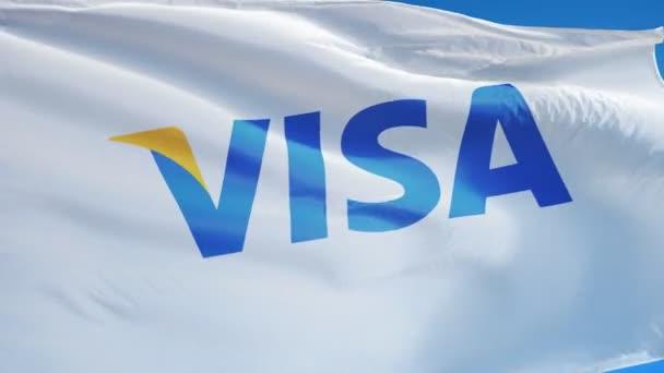 Visa corporation vlajka v pomalém pohybu, redakční animace
