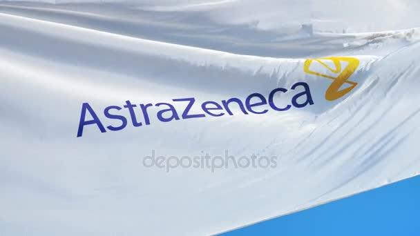 Astrazeneca Plc Company Flag In Slow Motion Editorial Animation