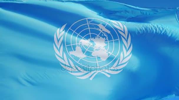 Egyesült Nemzetek Szervezete zászló a lassú mozgás, szerkesztői animáció