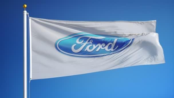 Ford Motor Company vlajka v pomalém pohybu, redakční animace