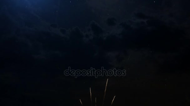 Happy Birthday greeting text with colored slow motion fireworks