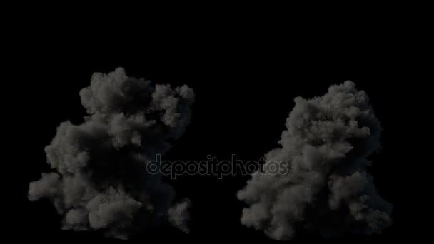 2 realistické fire blasty výbuchy s kouřem počítající s alfa kanálem