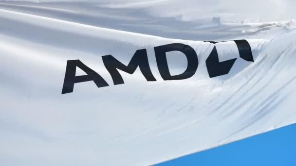 Bandeira de empresa AMD em câmera lenta, animação editorial