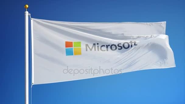 Microsoft společnost vlajka v pomalém pohybu, redakční animace