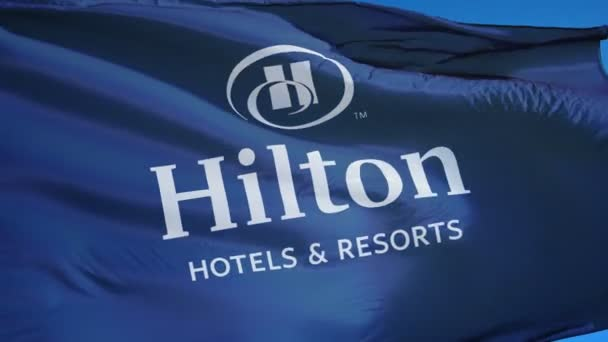Hilton Hotels Resorts Company Flag In Slow Motion Editorial