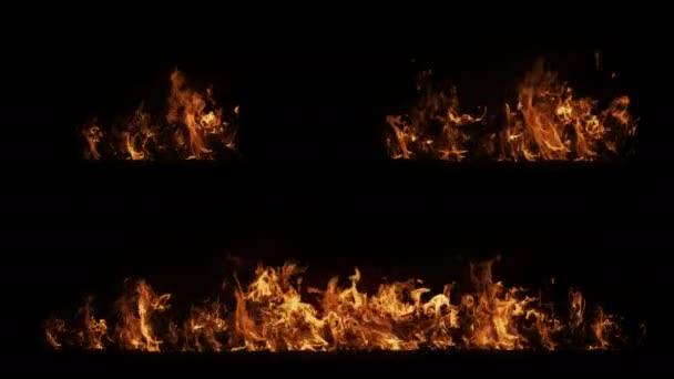 V pomalém pohybu bez ohnivé zdi s nepřerušovanou smyčkou, pekelně hořící oheň, Střelba s vysokorychlostní kamerou, intenzivní hořící palivo, perfektní pro digitální složení.