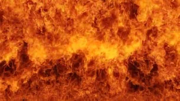 Inferno-Feuerwand in Zeitlupe mit nahtloser Endlosschleife isoliert, Höllenfeuer brennend, Aufnahmen mit Hochgeschwindigkeitskamera, intensives Brennstoffbrennen, perfekt für digitale Komposition.