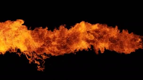 Inferno tűz fal lassú mozgás zökkenőmentes hurok elszigetelt, pokol tűz égett ki, lövészet nagy sebességű kamerával, intenzív üzemanyag lángoló, tökéletes digitális kompozíció.