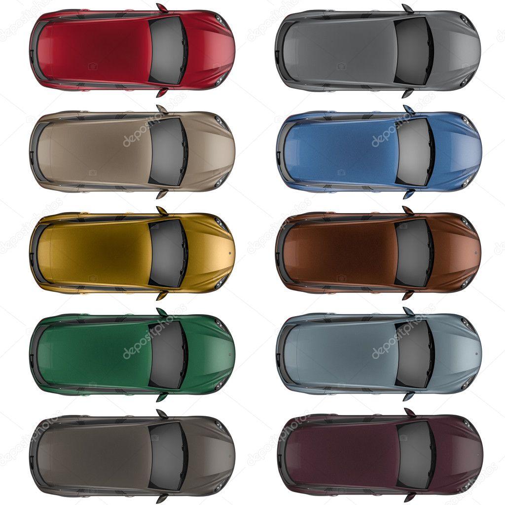 異なる色で上から見た車のセット ストック写真 Pozitivo 125083448