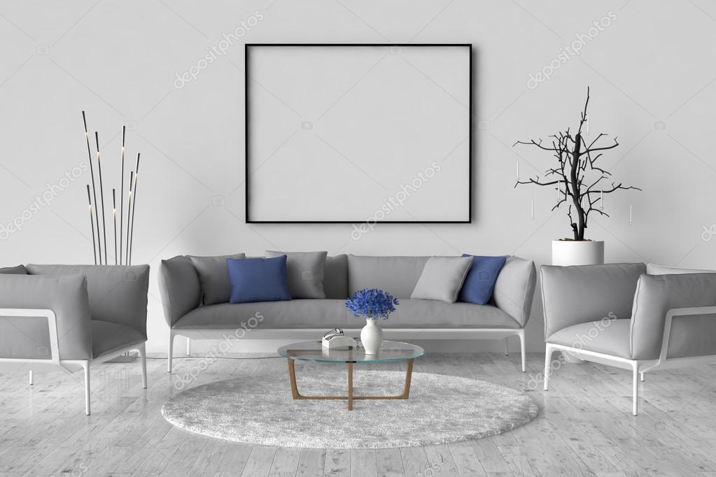 Sala de estar - en la pared un marco de imagen vacío — Fotos de ...