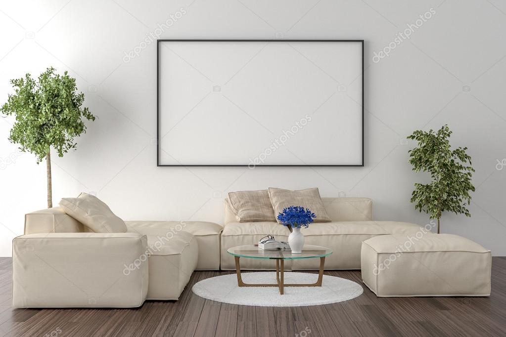 Sala de estar - en la pared un marco de imagen vacío — Foto de stock ...