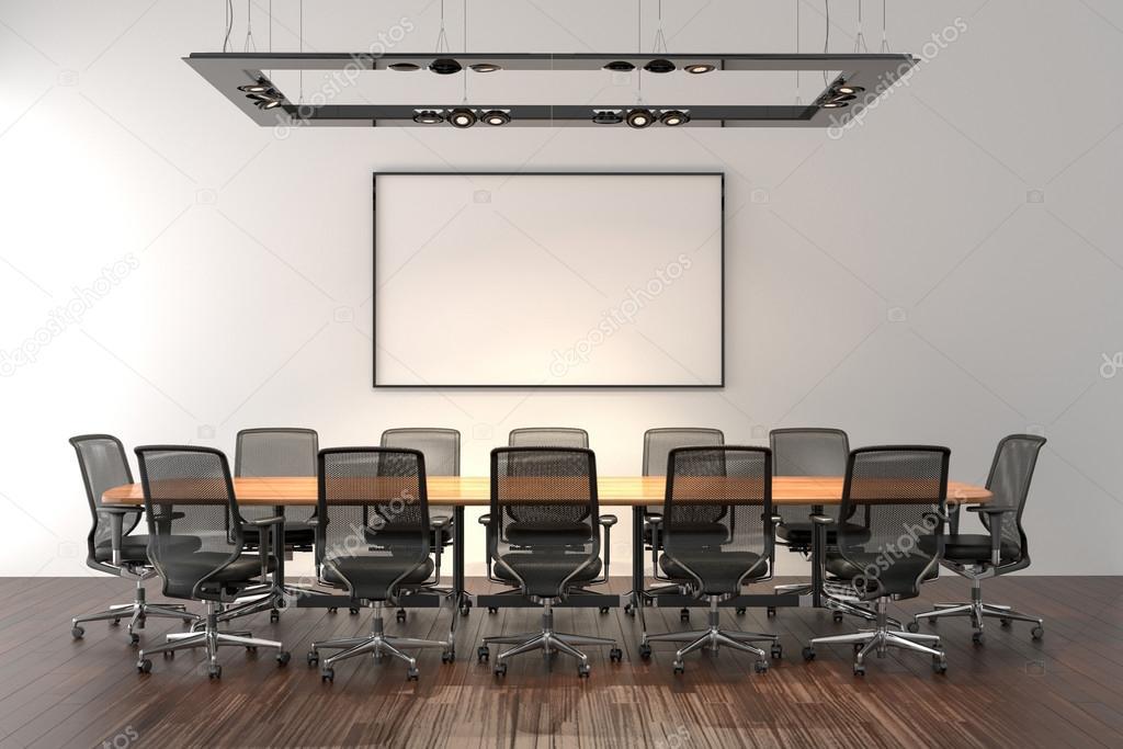 Sala de conferencias con marco en blanco en segundo plano — Fotos de ...