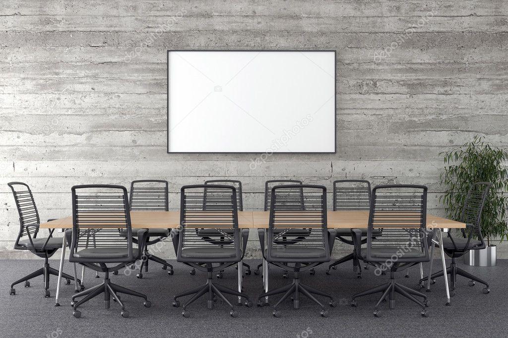 Sala de conferencias con marco en blanco en segundo plano — Foto de ...