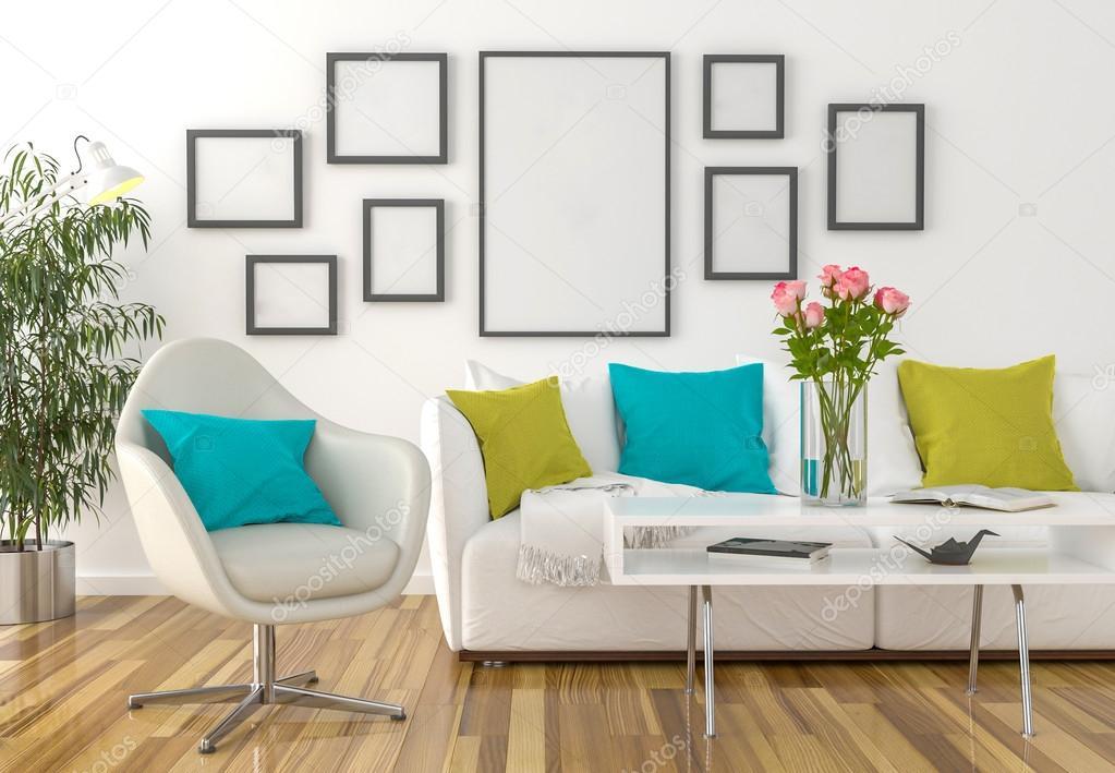 Sala de estar - en los marcos vacíos de pared — Foto de stock ...