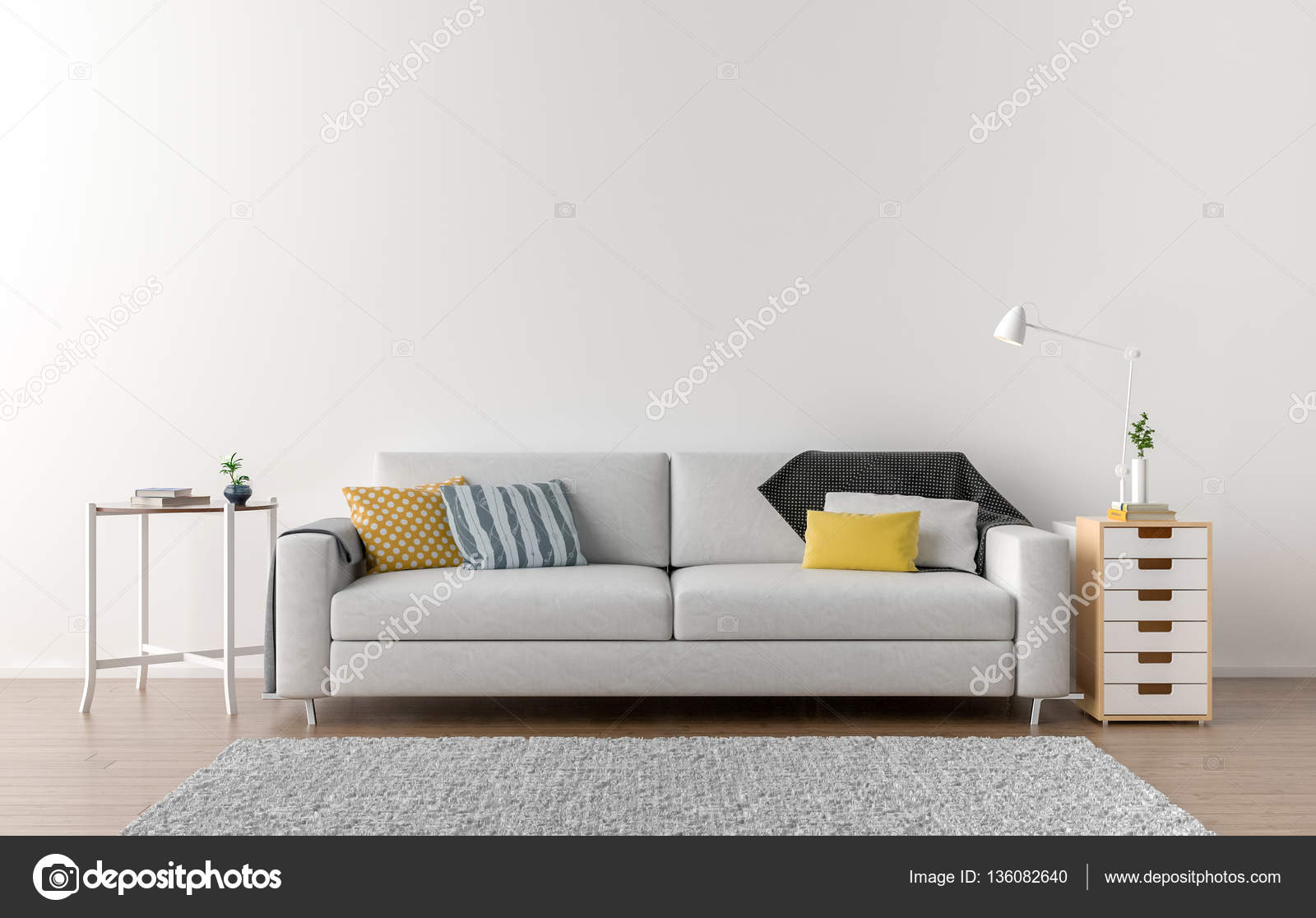 Empty living room with white wall in the background — Stock Photo ...