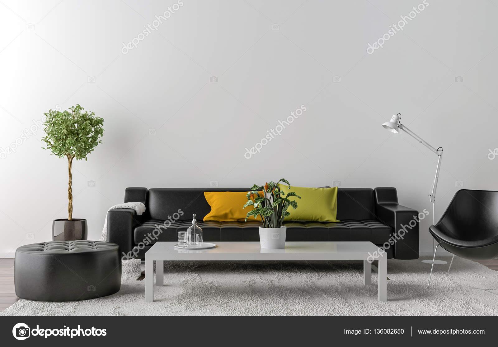 Lege woonkamer met witte muur in de achtergrond — Stockfoto ...
