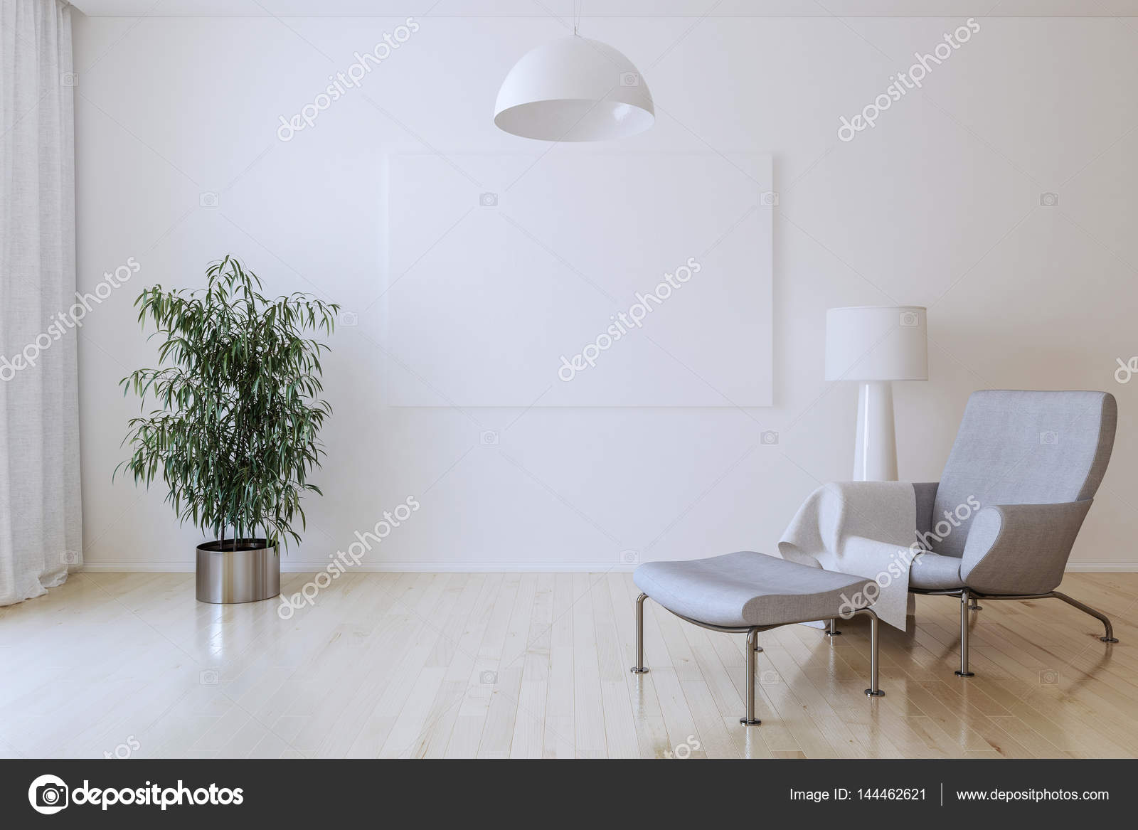 White canvas on the wall in the living room. 3D render. — Stock ...