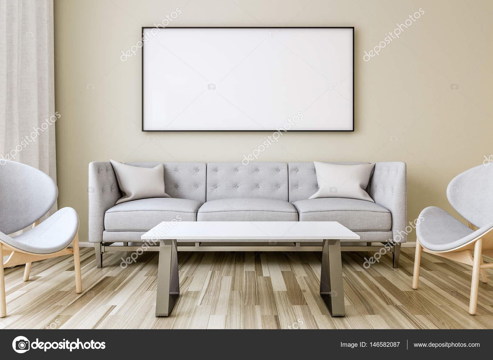 Marco en blanco en la pared de la sala de estar — Fotos de Stock ...