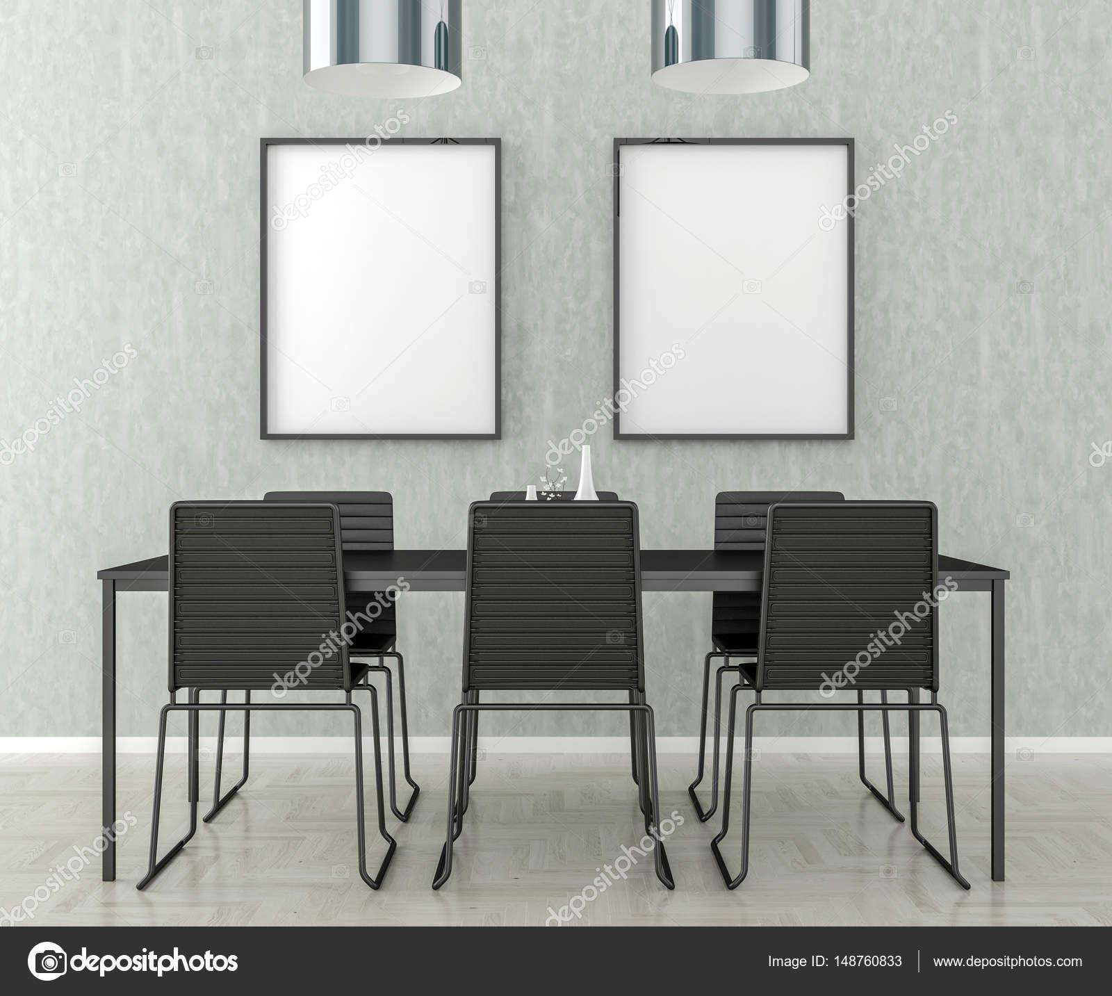 Küche, Tisch und Stühlen, leere Bilderrahmen an der Wand — Stockfoto ...