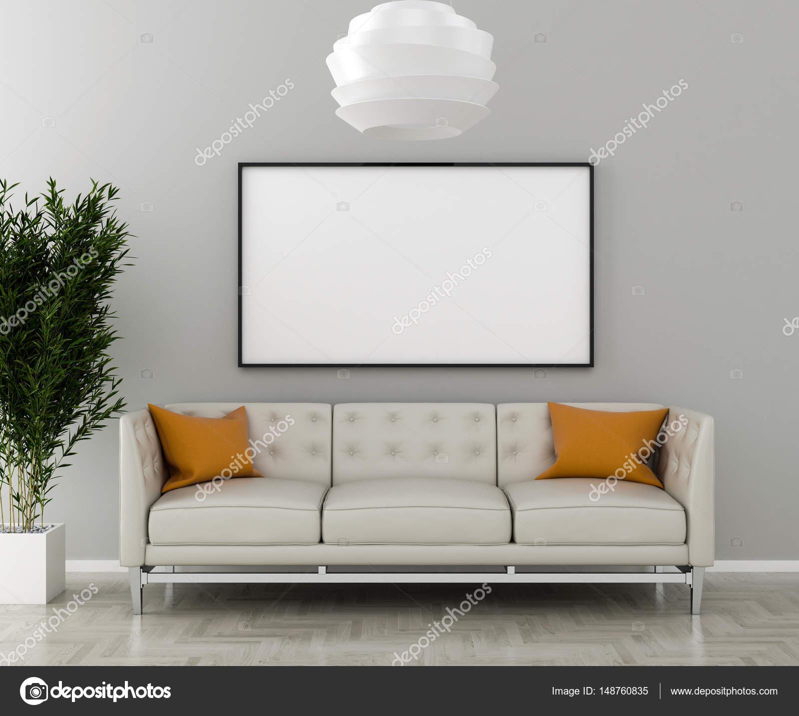 Leere Bilderrahmen an der Wand im Wohnzimmer — Stockfoto © pozitivo ...