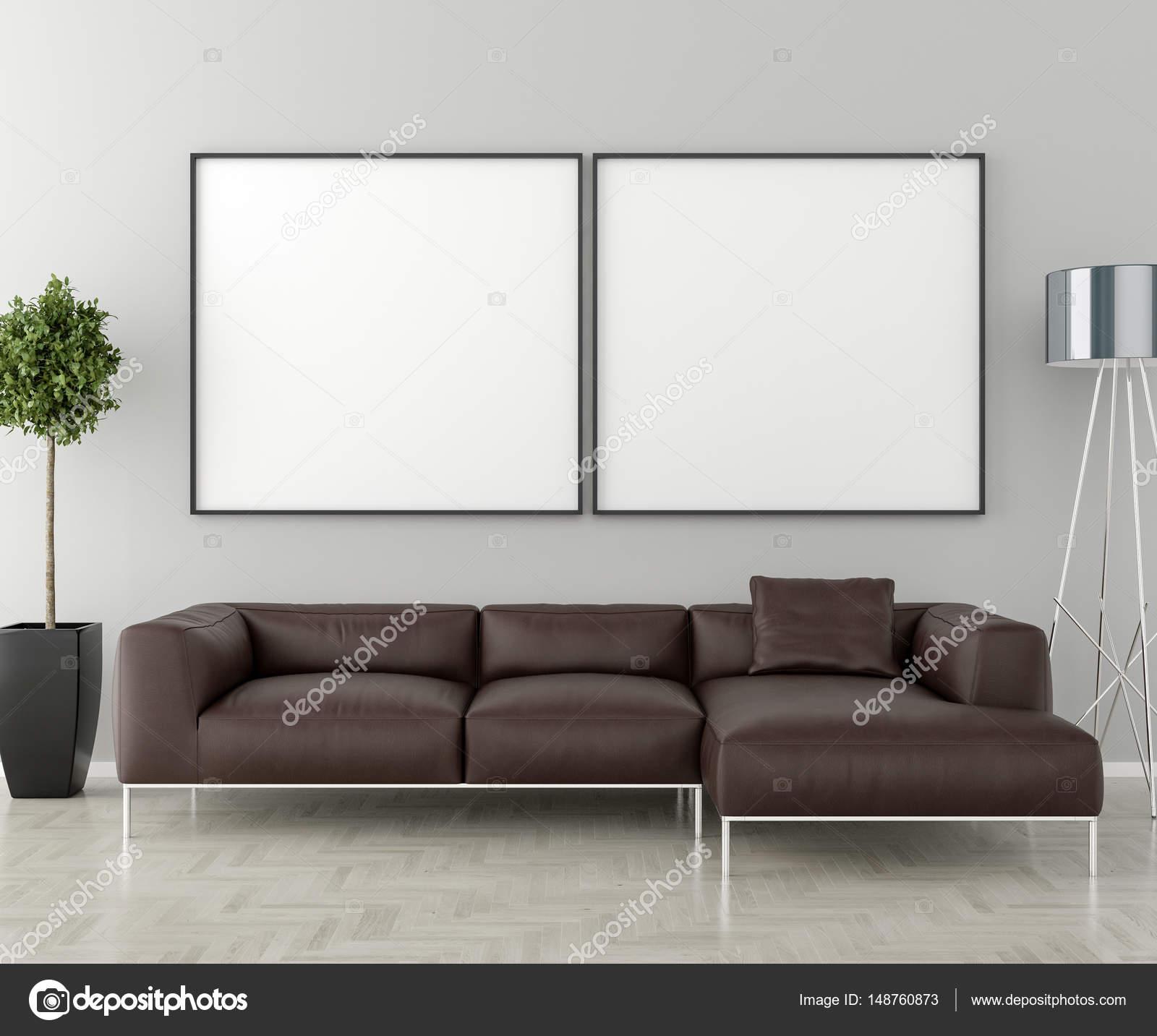 Woonkamer - op de muur een leeg afbeeldingsframe — Stockfoto ...