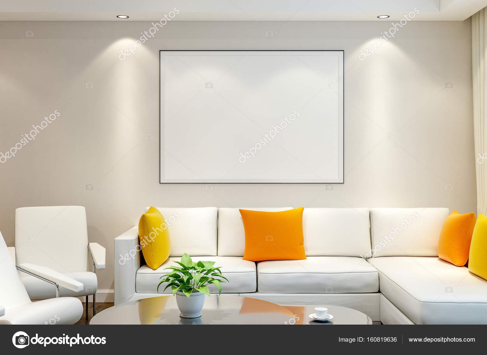 Pared en blanco con marco en la sala de estar — Foto de stock ...