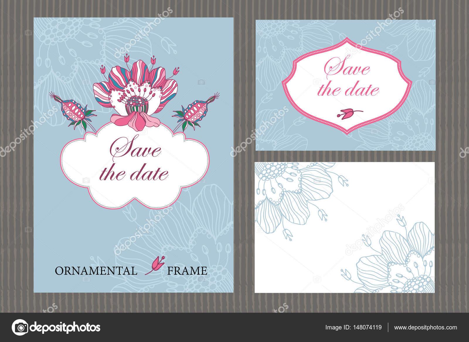 Einladungsvorlage Hochzeit, Einladung, Umschlag, Dankeskarte, Save Date Karten  U2014 Stockvektor