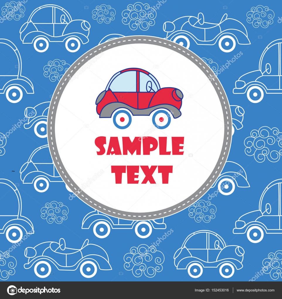 Blue Baby Grußkarte mit Platz für Text. Vorlage mit Auto ...