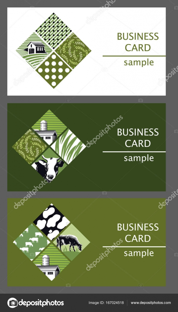 Business cards templates with the image of cattle farm. — Stock ...