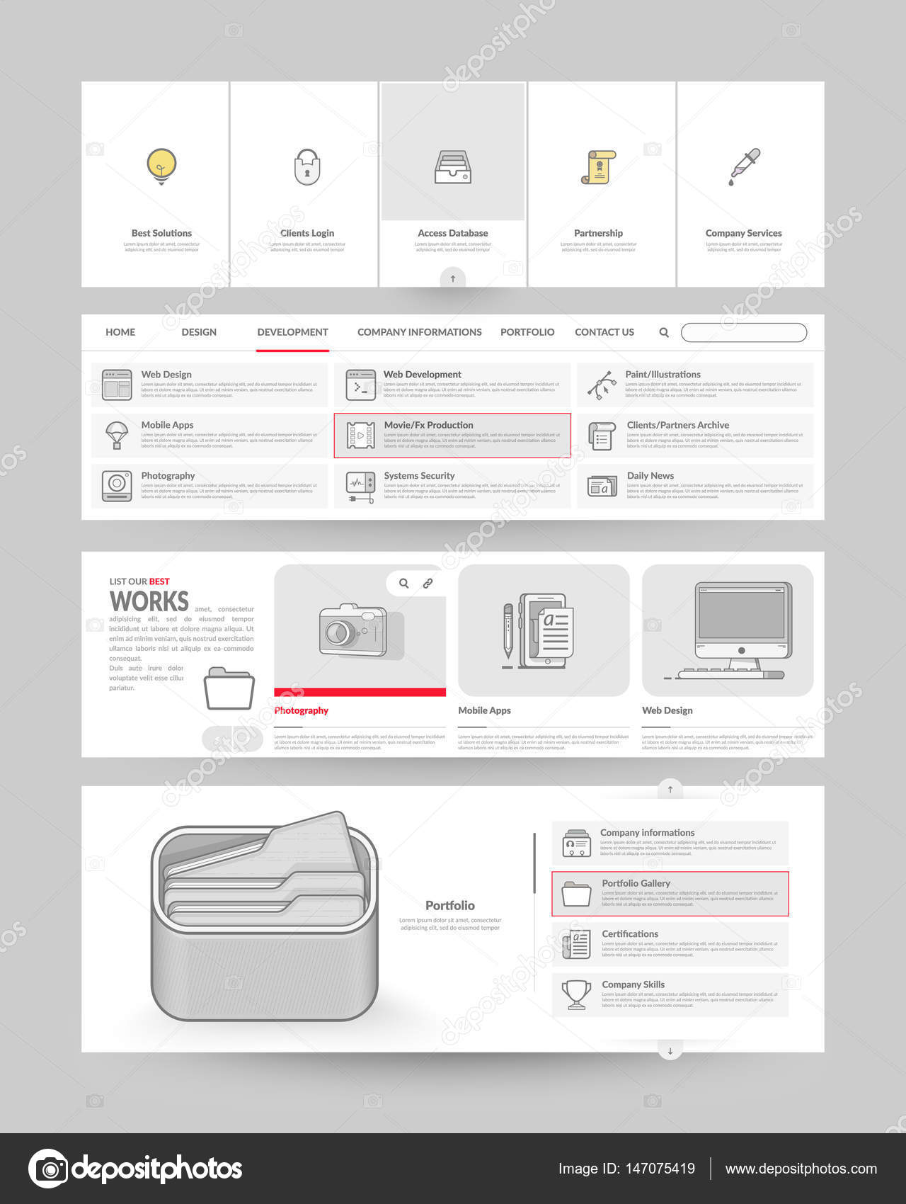 Website template elements with concept icons stock vector collection of various elements for web page navigation vector by liquidlayout ccuart Gallery
