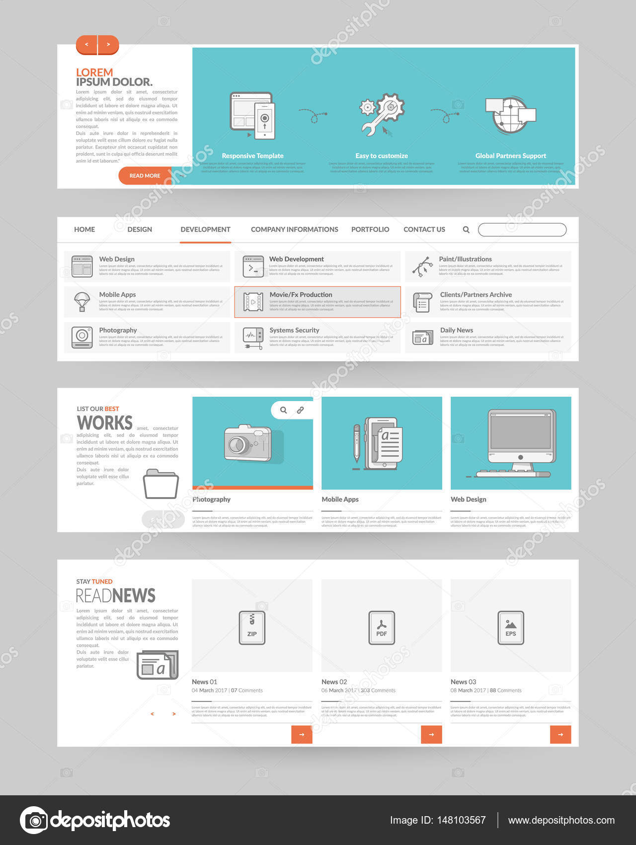 Website Template Elements With Concept Icons Stock Vector