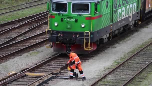 Práce na kolejiště v Ystad, Švédsko